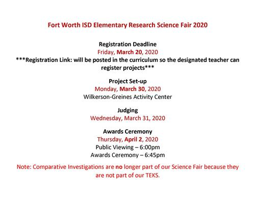 FWISD SCIENCE RESEARCH FAIR