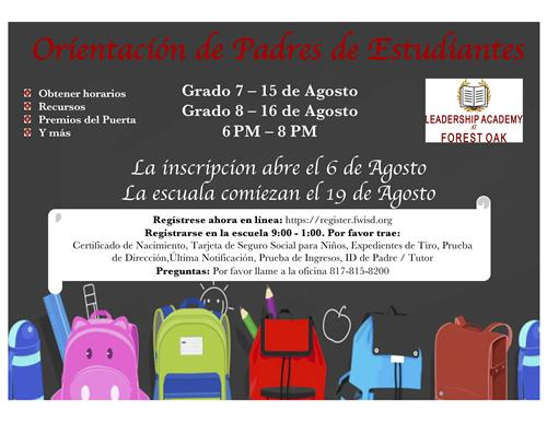 Parent Orientation 2019-2020 in Spanish