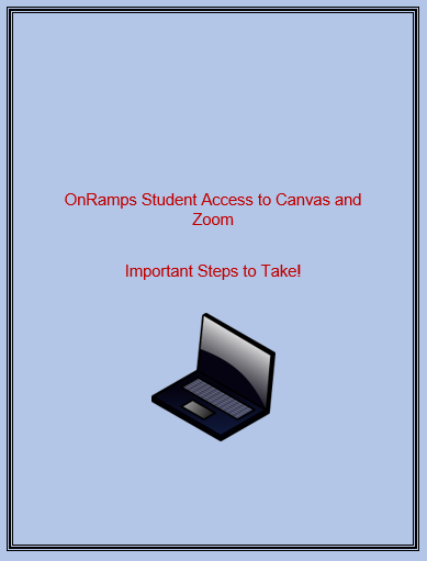 OnRamps Student Access to Canvas and Zoom