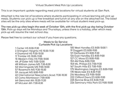 Meal Pick Up Locations for Virtual Students