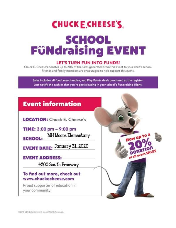 Chuck E. Cheese Fundraiser this Friday!